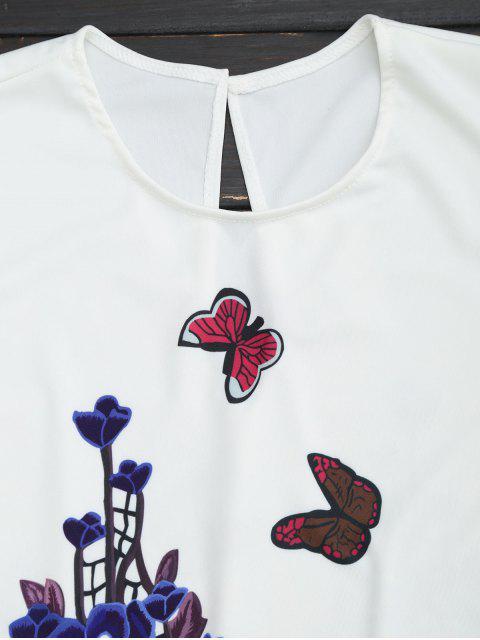 Ensemble haut et shorts imprimés fleur papillon - Blanc M Mobile