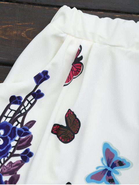 Ensemble haut et shorts imprimés fleur papillon - Blanc L Mobile