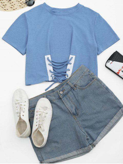 trendy Round Collar Lace Up Tee - LIGHT BLUE L Mobile