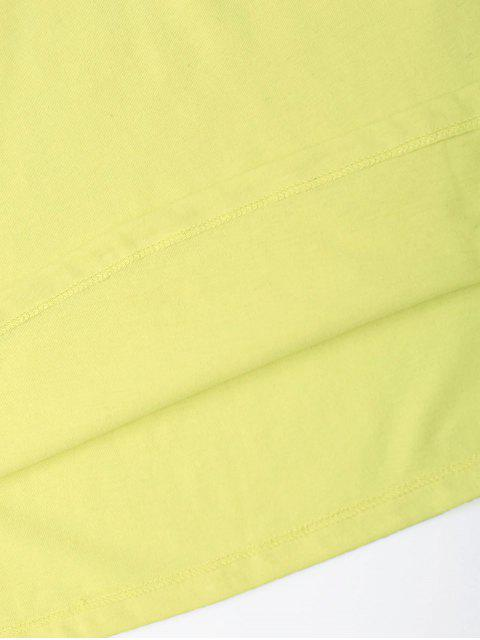 hot Cotton Floral Embroidery T-Shirt - YELLOW L Mobile