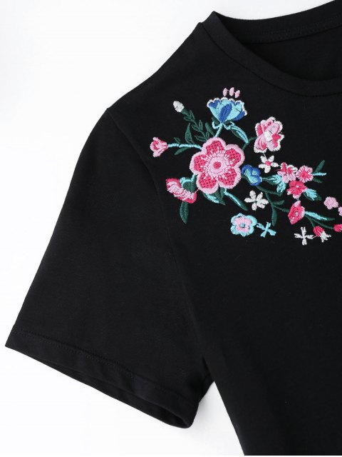 latest Cotton Floral Embroidery T-Shirt - BLACK S Mobile