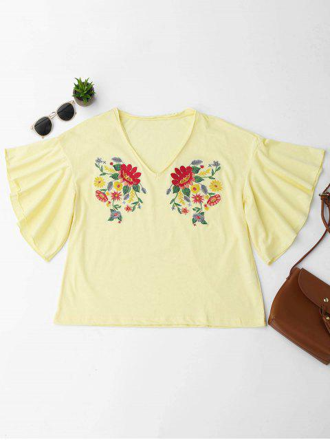 fashion Ruffles Floral Embroidered Cotton Top - YELLOW M Mobile