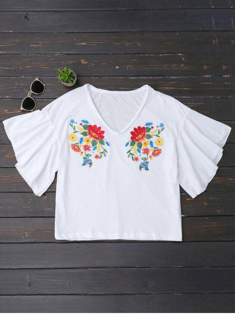 affordable Ruffles Floral Embroidered Cotton Top - WHITE L Mobile