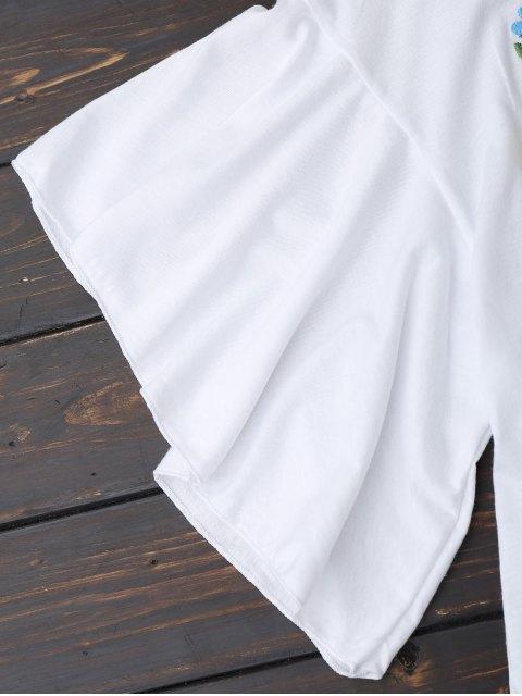 Top en coton brodé floral Ruffles - Blanc M Mobile