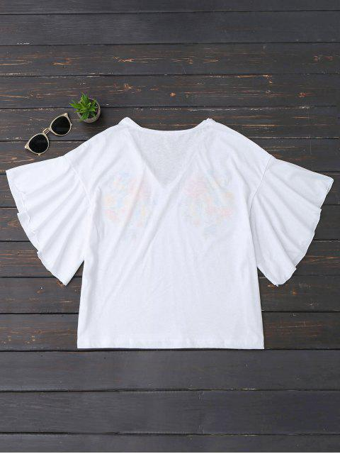 womens Ruffles Floral Embroidered Cotton Top - WHITE S Mobile