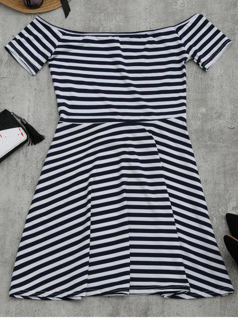 womens Off The Shoulder Striped Flare Dress - STRIPE XL Mobile