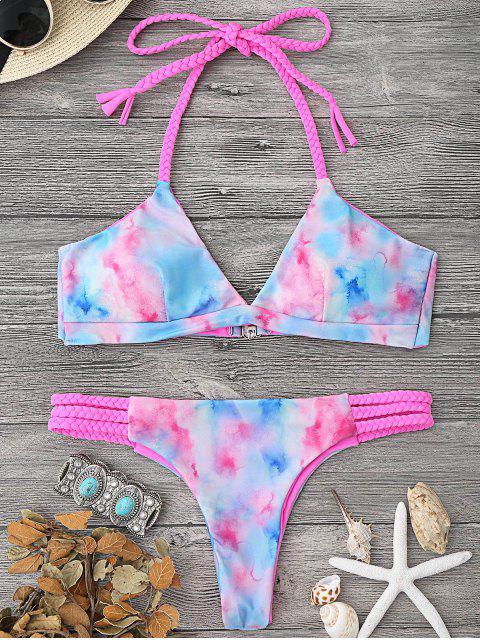 hot Tie Dye Braided Halter Bikini Set - MULTICOLOR L Mobile