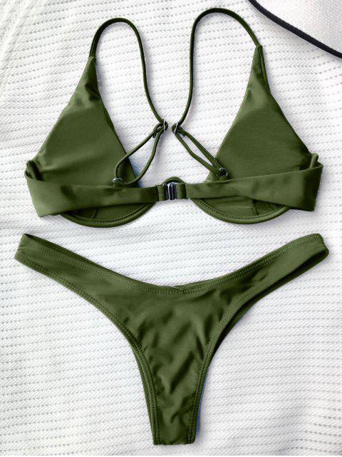 best Push Up Plunge Bathing Suit - GREEN L Mobile