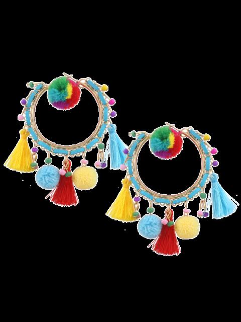Fuzzy Ball Perlen Quaster Hoop Ohrringe - Mehrfarbig  Mobile