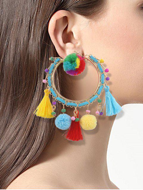 Boucles d'oreilles à franges pompons - Multicouleur  Mobile