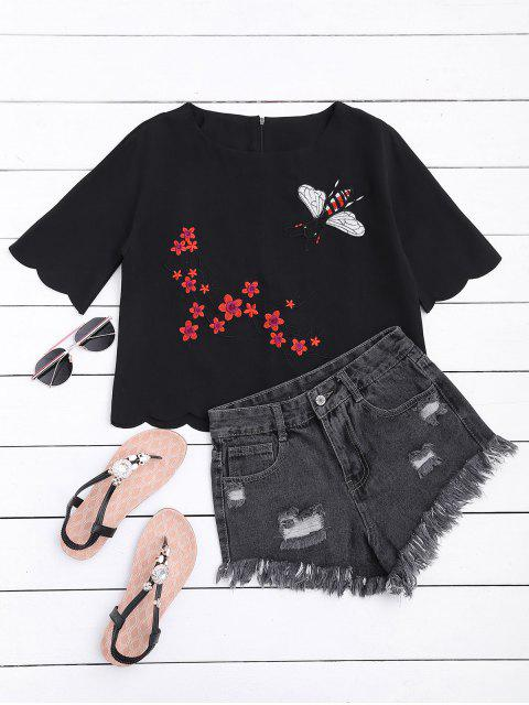 women's Floral Embroidered Scalloped Hem Tee - BLACK L Mobile