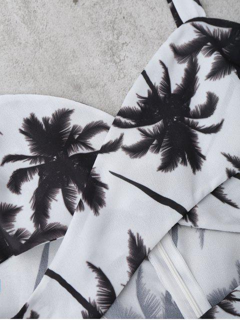 Combishort Découpé à Imprimé Arbre Palmier - Blanc L Mobile