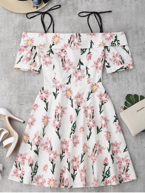 Cami Robe Imprimé à Fleurs Ourlet à Vloants - Floral XL Mobile