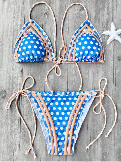 outfits Polka Dot Self Tie String Bikini Set - BLUE L Mobile