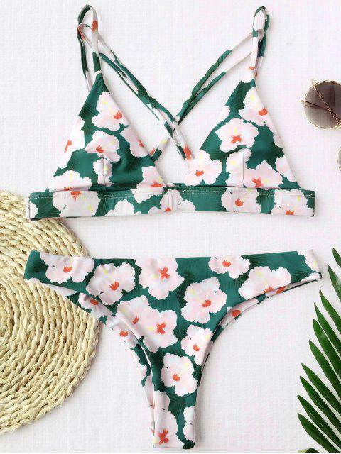 fashion Floral Padded Cross Back Bikini - FLORAL S Mobile