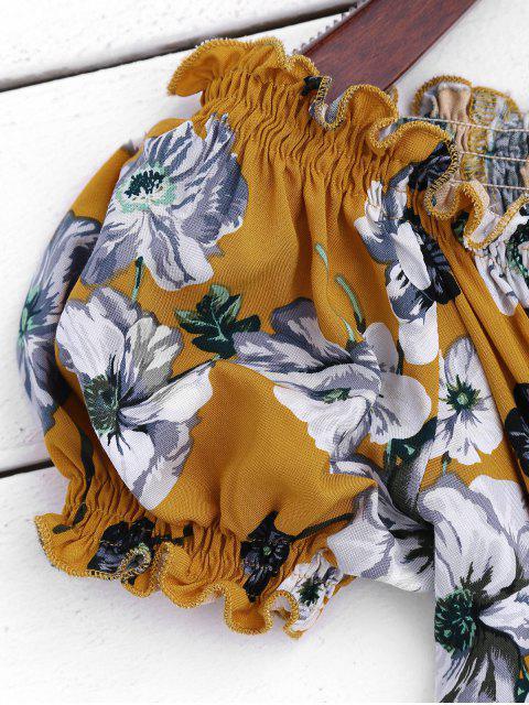 best Floral Ruffles Off Shoulder Romper - FLORAL XL Mobile