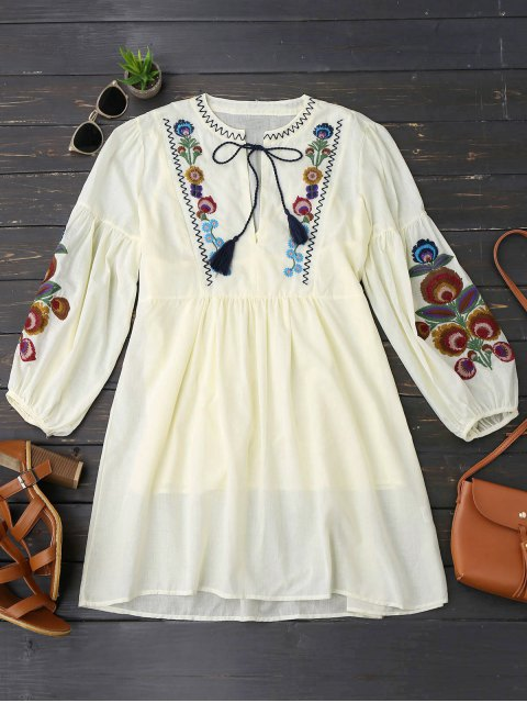 women Long Sleeve Floral Embroidered Tunic Dress with Cami Tank Top - LIGHT YELLOW M Mobile