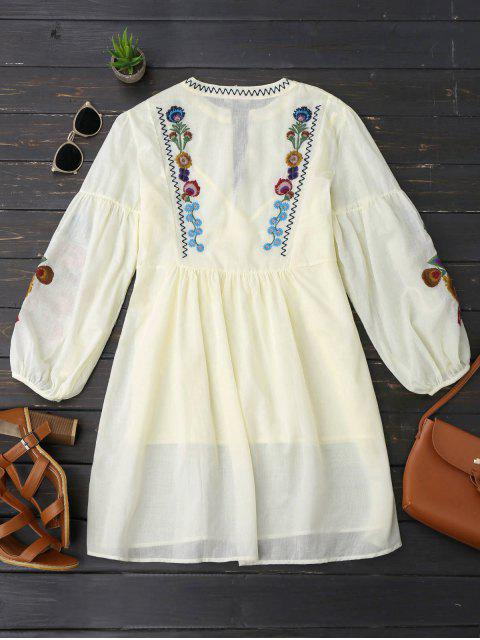 Robe tunique à manches longues décorée broderies florales et Cami Tank Top - Jaunâtre S Mobile