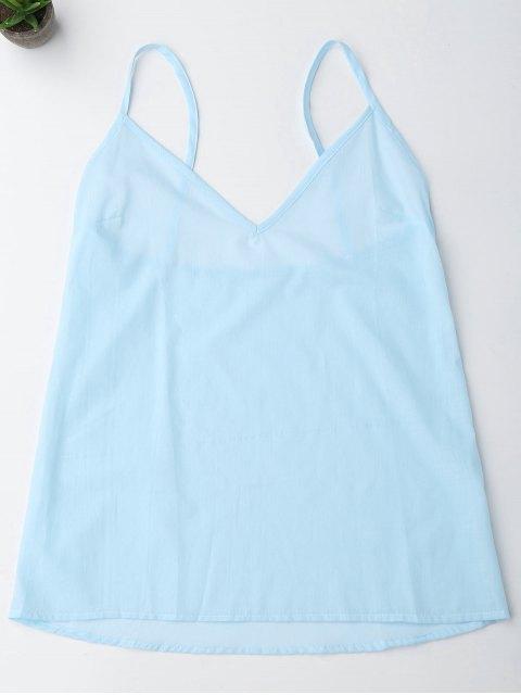 Robe tunique à manches longues décorée broderies florales et Cami Tank Top - Bleu clair M Mobile