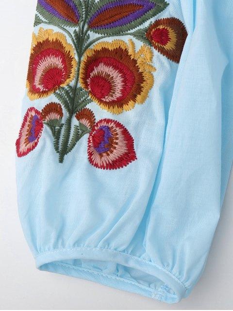 Robe tunique à manches longues décorée broderies florales et Cami Tank Top - Bleu clair S Mobile