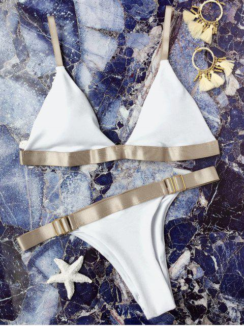 womens Padded Adjusted Straps Velvet Bikini - WHITE L Mobile