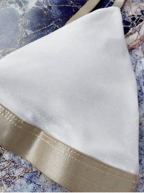 women Padded Adjusted Straps Velvet Bikini - WHITE M Mobile