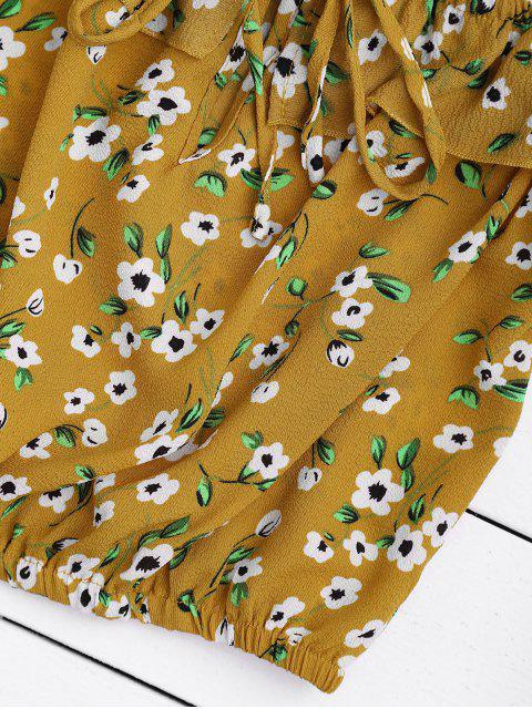 Haut à volants imprimé fleur et jupe enveloppante - Floral S Mobile