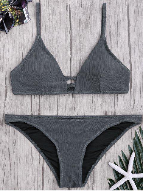 latest Criss Cross Spaghetti Strap Texture Bikini Set - GRAY S Mobile