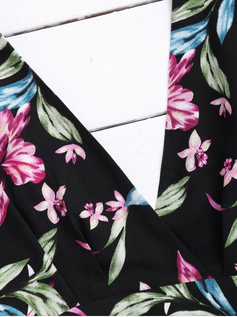 women Ralgan Sleeve Floral Cut Out Surplice Dress - FLORAL XL Mobile