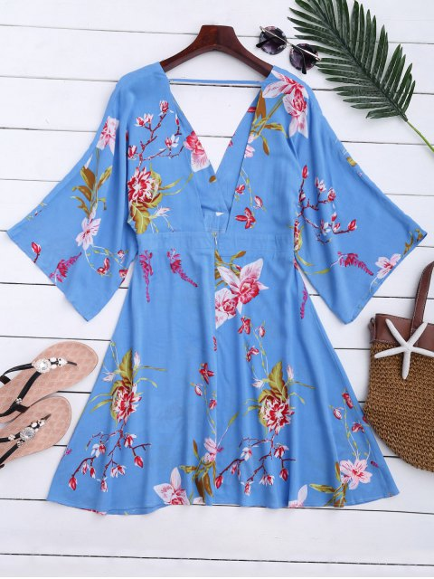 sale Raglan Sleeve Floral Surplice A-Line Dress - FLORAL XL Mobile