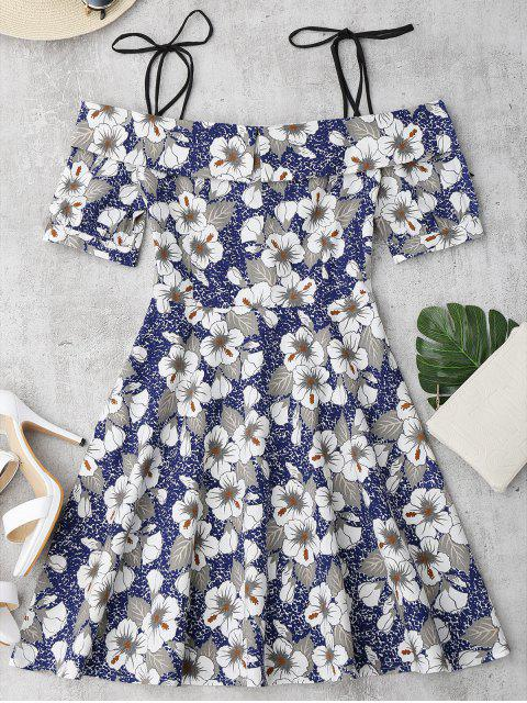 fashion Self Tie Floral Printed Cami Dress - FLORAL S Mobile
