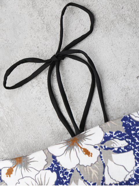 unique Self Tie Floral Printed Cami Dress - FLORAL XL Mobile