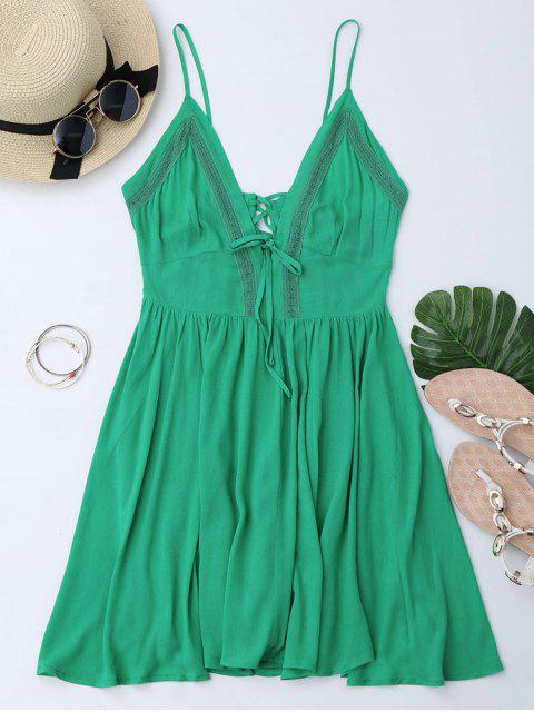 Vestido de Sol con Tiras Cruzadas con Escote Pico y Escote Pronunciado en Espalda - Verde S Mobile