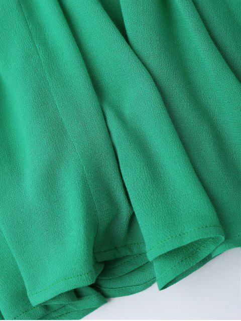online Plunge Low Back Lace Up Sundress - GREEN M Mobile