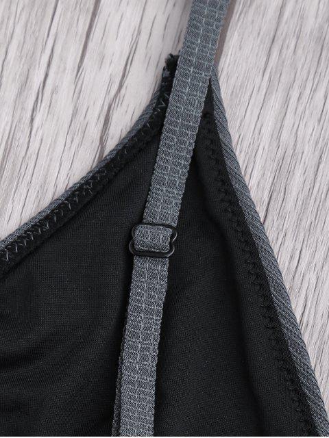 shops Criss Cross Spaghetti Strap Texture Bikini Set - GRAY M Mobile