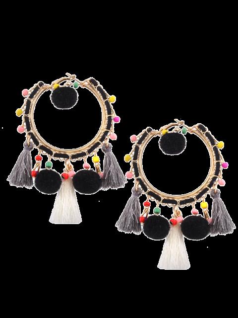 Boucles d'oreilles à franges pompons - Noir  Mobile