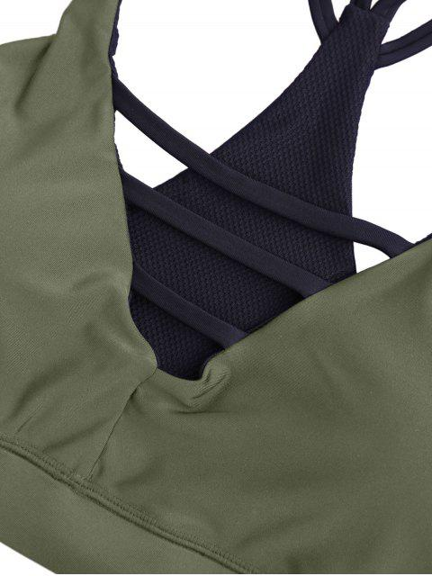 women Padded Double Straps Strappy Sporty Bra - ARMY GREEN S Mobile
