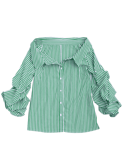 shops Button Up Puff Sleeve Striped Bloues - STRIPE L Mobile