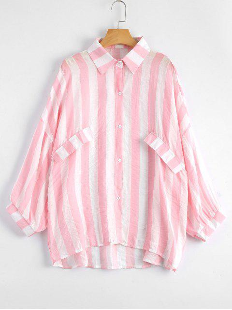 online Oversized Button Up Striped Blouse - LIGHT PINK ONE SIZE Mobile
