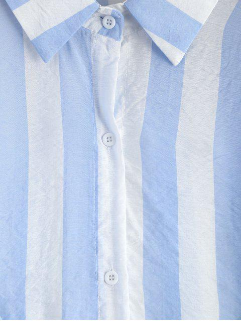 new Oversized Button Up Striped Blouse - SKY BLUE ONE SIZE Mobile