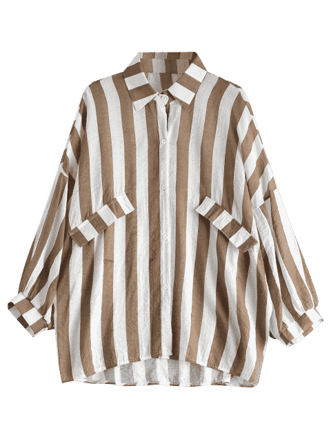 hot Oversized Button Up Striped Blouse - KHAKI ONE SIZE Mobile