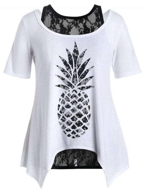 shop Plus Size Pineapple T-Shirt with Lace Tank Top - WHITE 5XL Mobile