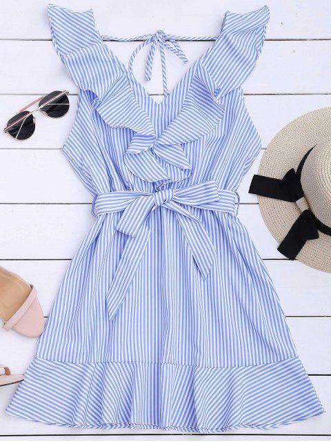 hot Ruffle Hem Striped Belted Dress - STRIPE S Mobile