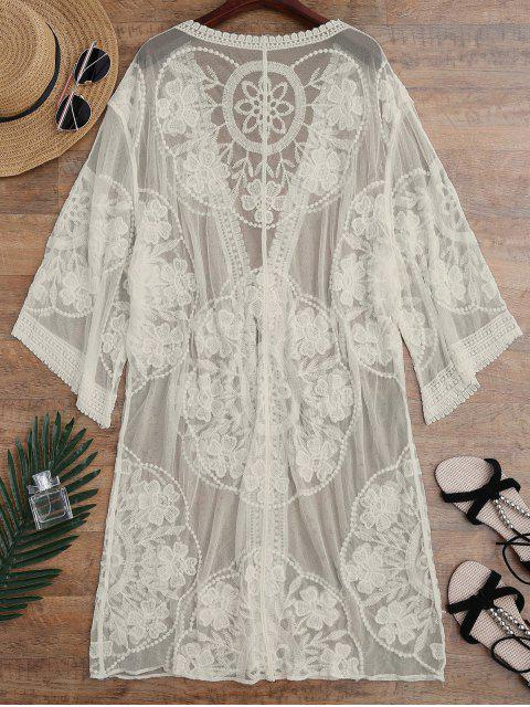 outfit Sheer Lace Tie Front Kimono Cover Up - APRICOT ONE SIZE Mobile