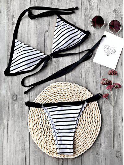 Striped Padded Adjustable String Bikini Set - White And Black S