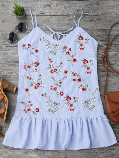 Floral Embroidered Ruffles Longline Tank Top