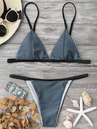 236df492098 Padded Contrast String Bikini Top And Bottoms - Blue Gray