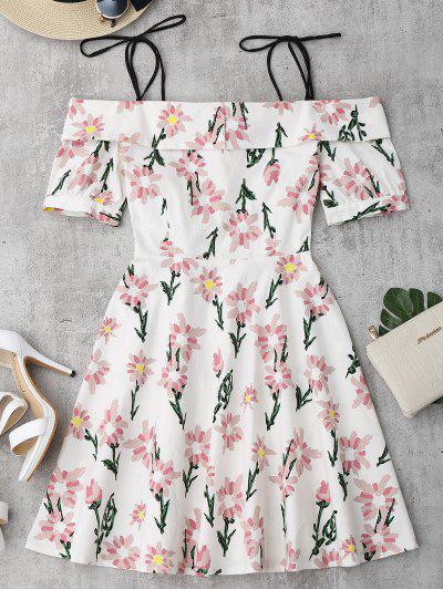Vestido Con Estampado De Flores Con Tirantes Finos Con Faldas De Volantes - Floral L