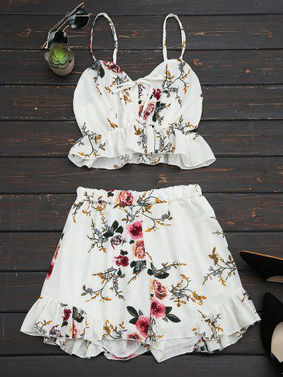 Floral Print Ruffled Cami Two Piece Set - Floral S
