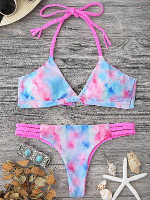 Tie Dye Braided Halter Bikini Set - Multicolor S